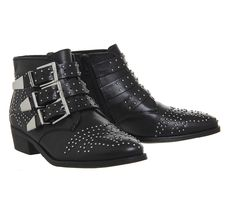 Lucky Charm Black Studded Buckle Western Boots with Silver Hardware   Office   Great dupe for Chloe Savanna