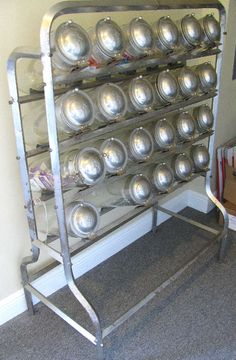 1930's Glass Candy Jars with Metal Hinged Lids, Chrome Display Stand