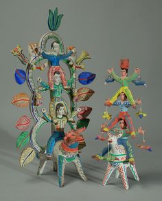 Heron Martinez, Mexican Tree of Life Candleholders from the White Period