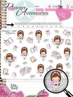 Girl Planner Stickers Planning Addicted von EmelysPlannerShop