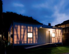 House M / Keiko Maita Architect - Shunan, Japan | The exterior walls of the house are made of a semi translucent tent material which allows the sun to penetrate softly inside the house. | Via ArchDaily.com