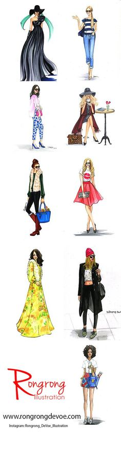 Fashion sketches by Houston fashion Illustrator Rongrong DeVoe. Her watercolor fashion art are great for home decor, office decor. More fashion illustration at http://www.rongrongillustration.etsy.com