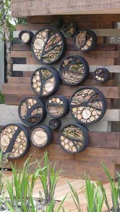 Homes for garden friendly insects...so neat but peace signs as well as tree branches!