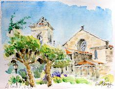 Vue de l'eglise Santiago et de ses jardins, A Coruna, Galice Aquarelle, graphite Papier Arches, 300g, grain torchon
