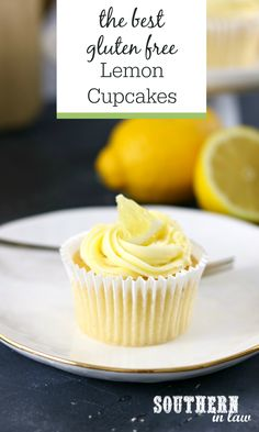 The Best Gluten Free Lemon Cupcakes Recipe with Lemon Buttercream Frosting - Boiling water is the secret to soft moist and fluffy gluten free cupcakes made from scratch . So easy and made with ingredients you probably already have in your pantry