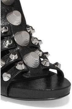 Balenciaga - Studded Textured-leather Sandals - Black - IT36.5