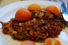 Spidskåls lasagne med krydret oksekød