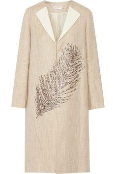 Tory Burch|Ange embellished linen and cotton-blend coat|NET-A-PORTER.COM