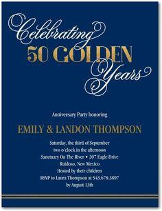 Golden Years - Studio Basics: Anniversary Party Invitations - Wedding Paper Divas Studio Basics - Navy - Blue : Front
