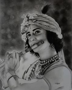 Pencil Drawing Images, Abstract Pencil Drawings, Art Drawings Sketches Simple, Portrait Sketches, Realistic Drawings, Radha Krishna Sketch, Krishna Drawing, Krishna Painting, Krishna Art