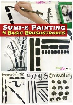 Sumi-e Painting 4 Basic Brushstrokes: Lesson 2 Learn 4 traditional Sumi-e or Chinese brush stroke techniques: pulling, pressure, side & smooshing. create art with me