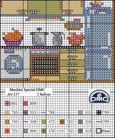 El blog de Dmc: Diagrama casa punto de cruz: la cocina