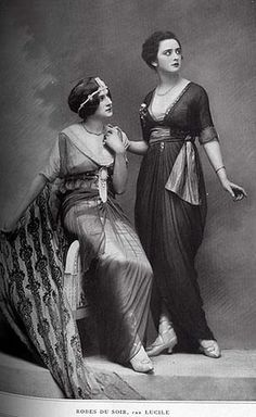 Lovely 1910s ladies wearing evening dresses by Lucile (Robes Du Soir, Lucile).