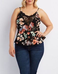 Love!  Plus Size Floral Lace-Trim Peplum Top