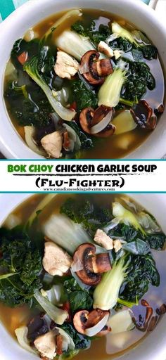Bok Choy Chicken Garlic Soup (Flu-Fighter) - This is my way to soup, . - Bok Choy Chicken Garlic Soup (Flu-Fighter) – This is my go to soup when I feel depressed. Asian Recipes, Healthy Recipes, Healthy Soup, Healthy Mushroom Recipes, Vegetarian Soup, Mushrooms Recipes, Garlic Soup, Think Food, Le Diner