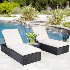 3 Piece Wicker Rattan Chaise Lounge Chair Set Patio Steel Furniture Black Wicker : Patio, Lawn & Garden