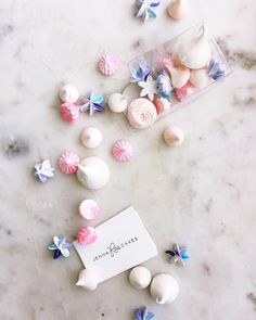 Mini meringues flavours include peach, blueberry, raspberry, vanilla, and sparkling wine!