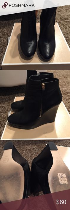 Michael Kors Clara Bootie Perfect fall Bootie for any occasion. Slight wear and tear. Black with gold hardware, can be worn with jeans, leggings & dresses. Michael Kors Shoes Ankle Boots & Booties
