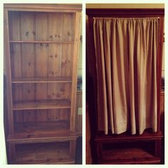 DIY An Old Hutch Into A Kitchen Pantry By Adding A Tension Rod And Curtain  To
