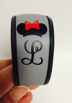 Disney Magic Bands ears decal.  Minnie or Mickey monogrammed initial by MudDivaCo on Etsy https://www.etsy.com/listing/269763511/disney-magic-bands-ears-decal-minnie-or