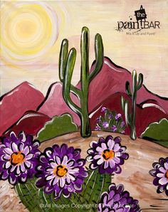 The Paint Bar Offers Studio Classes And Private Parties For All Ages. Cactus Drawing, Cactus Painting, Cactus Art, Southwestern Art, Spanish Art, Desert Art, Mexican Art, Easy Paintings, Whimsical Art