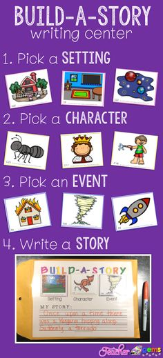 "Writing Center: Build-A-Story With story combinations you'll never hear, ""I don't know what to write about"" again! Build-A-Story Writing Center by Teacher Gems. Writing Lessons, Teaching Writing, Writing Skills, Writing Activities, Writing Prompts, Writing Strategies, Work On Writing, Writing Workshop, Easy Writing"