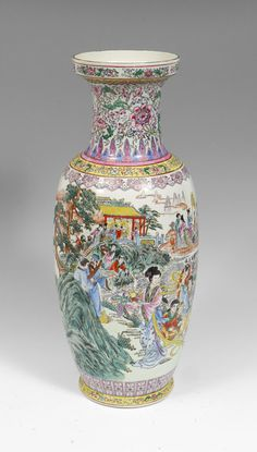 MACAU CHINESE FLOOR VASE: Painted outdoor genre scene with incised floral motifs. Verse or poem on back. Marked on base with pseudo marks, addition foil label marked K. N. E., Made in Macau.