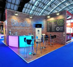 Bluefin exhibition stand at BIBA 2014. Backlit trade show booth panels.  #tradeshowdisplay