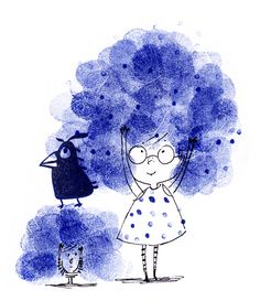 Big Hair!  - Ella Okstad #hair #bighair #bird #kid #child #cute #spottydress #fingerprint #inktober #penandink #ink #blackandwhite #blueandwhite #monochrome #childrensbook #illustration #kidlit #kidlitart #kidlitartist #kidsbooks #booksforkids #raiseareader #sharestories #books #read #teaching #resources #learning #teacher #art #illustrator #bookstagram #instaart #draw #sketch #sketchbook