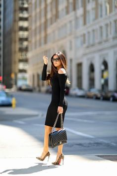 $98 - $695 The cut out shoulder black bodycon dress to impress: pair with leopard print pumps and Chanel bag for maximum effect.
