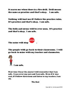 Fire Drill: It's Just Practice and I'm Okay ~ A Social Story  from Autism Classroom Creations on TeachersNotebook.com (5 pages)