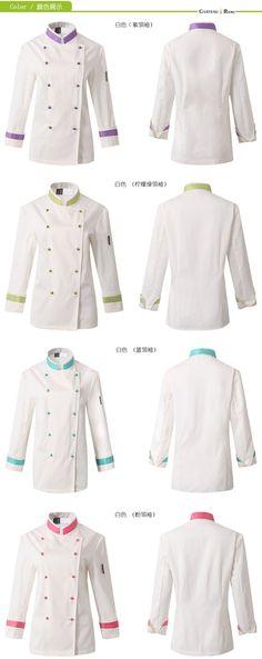high grade long sleeve chef coat uniforms special design for women (OEM . Mini Chef, Chef Costume, Restaurant Uniforms, Uniform Design, Europe Fashion, Apron Designs, Business Outfits, Sands, Costume Design