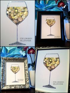 Wine Lovers Button Art Wine Glass Decoration White by BellePapiers