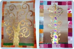 Interesting idea for creating a frame for the Tree of Life Projects For Kids, Art Projects, Klimt Art, Cool Art, Fun Art, Activities For Kids, Gift Wrapping, Frame, Bye Bye