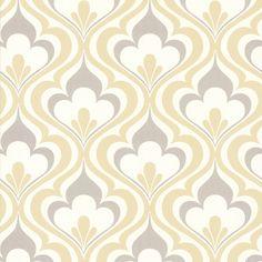 2535 20601 gold & grey Lola Ogee Bargello Damask Trellis Wallpaper | eBay