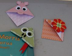 Corner Bookmarks Kid's craft.  Free tutorial.  Made with Stampin Up products. A Craftin' Owl creation