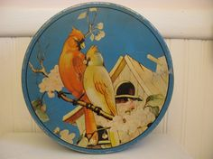 Large Vintage Tin With Birds Cardinals by mareo1 on Etsy, $20.00
