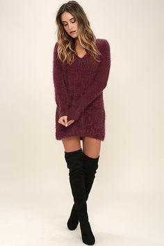 Jack by BB Dakota Aristella Dress- Wine Red Sweater Dress - Eyelash Knit Dress - $75.00