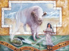 White Buffalo Calf Woman Painting by Marcia Corbett.jpg Day 10 of ReikiShamanic energy healing for animals. MarciaCorbett created this beautiful painting inspired by experiences with the BuffaloBlanket and whitebuffaloNima at A Walk on the Wild Side 2013 at EarthfireInstitute. Painting symbolism is derived from the designs in the BuffaloBlanket and shamanicguidance from our allies. The message of hope for healing the rift between the people,land,animals through renewed sacred connections.