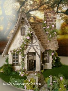 scale miniature cottage by Cinderella Moments: Miss Read's English Cottage~~~side part of house Miniature Rooms, Miniature Houses, Miniature Gardens, English Cottage, Putz Houses, Doll Houses, Clay Houses, Cinderella Moments, Fairy Garden Houses