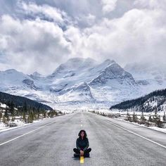 The Icefields Parkway never fails to impress, whether you're driving through, hiking, or sitting in the middle of the highway. This incredible photo was taken by: Newfoundland, Never, Mount Everest, Fails, Middle, Hiking, Canada, The Incredibles, Mountains