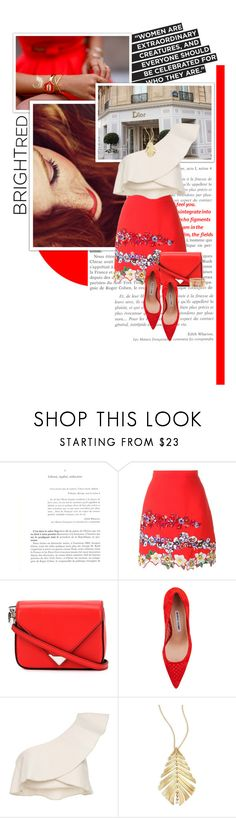 """""""bright red"""" by lifestyle-ala-grace ❤ liked on Polyvore featuring MSGM, Alexander Wang, Manolo Blahnik, Isabel Marant, Hueb and Jenny Packham"""