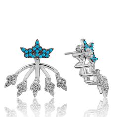 Crown Earrings - Sterling Silver Earrings - Modern Earrings - Turquiose