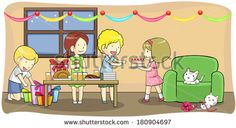 Cartoon kids and children boy girl celebrating a birthday, Christmas, new year, or holiday festival party with presents and food turkey, create by vector
