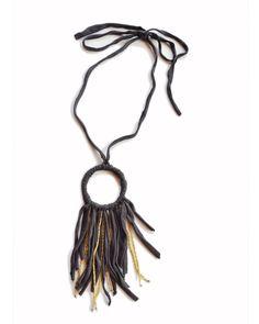 hoop necklace - slate & gold