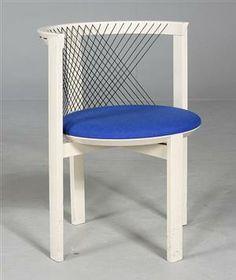 Niels Jørgen Haugesen; Lacquered Beech 'String' Chair for Traeneker, 1980.