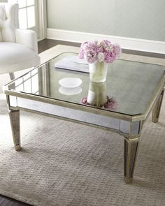 """Amelie"" Mirrored Coffee Table (Frame is made of Asian hardwood w/silvery finish & golden accents; Covered in antiqued mirrored veneers)"
