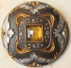 "Vintage Old Button Sewing seamstress Dressmaking amber jewel 1.25"" J1"