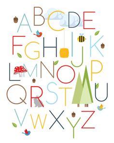 Nursery Art Print - Alphabet  Wall Art - Kids Alphabet Print 40 X 50 Original Wall Art. $45.00, via Etsy.