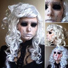 Broken Porcelain Doll  #makeup #facepaint #art #whitehair #curlyhair #broken…
